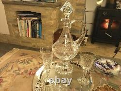 RARE 1 CRISTALLERIES de LORRAINE LUDOVIC CLARET WINE JUG DECANTER CUT GLASS