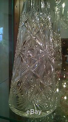 RARE ANTIQUE BACCARAT CUT GLASS CRYSTAL DECANTER/ FRANCE/ EXCELENT CONDITION