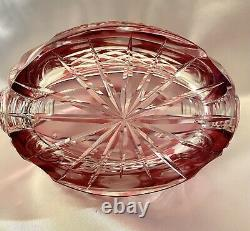 RARE Antique Czech Bohemian Cranberry Red Instalgia Cut Roses Crystal Decanter