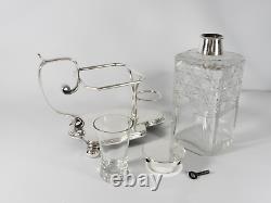 RARE Antique Victorian Silver Plate Cut Glass Locking Decanter Set John Sherwood