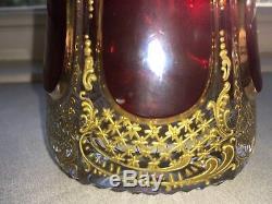 RARE MOSER BIEDERMEIER ruby cabochon Czech Bohemian gilded DECANTER + 4 glasses