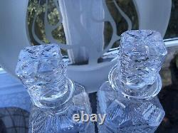 RARE PAIR SIGNED Vintage WATERFORD Crystal Square Cut Glass Whisky Decanters