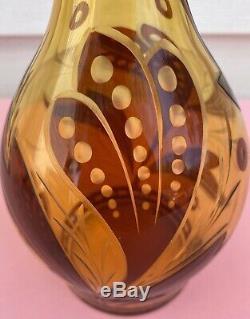RARE Vintage Bohemian Czech Cut Glass Decanter EC BEAUTIFUL! MUST SEE