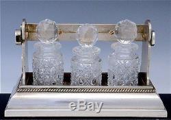 RAREc1890 BETJEMANN'S PATENT SALESMAN'S SAMPLE TANTALUS ORIG CUT GLASS DECANTERS
