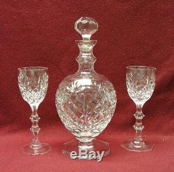 ROGASKA Fine Cut Crystal CORDIAL/APERITIF DECANTER + 2 matching GOBLETS