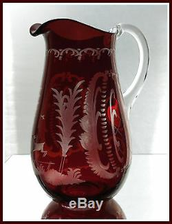 RUBY RED Pitcher Decanter Flashed + CUT TO CLEAR CRYSTAL Bohemian DEER Czech