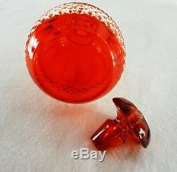 Rare Antique BACCARAT Glass Set Red Cut to Clear Decanter & 6 Matching Goblets
