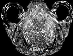 Rare Antique Superior Double Handled Libbey Harvard Pattern Cut Glass Decanter