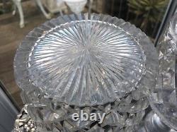 Rare Antique Two 1 Litre Georgian C1820 Step Diamond Hobnail Cut Decanters Vgc