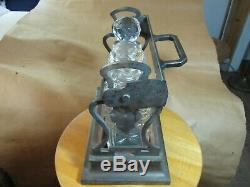 Rare Betjemanns Tantalus Cut Crystal Bottles / Prism Tops Lockable (no key)