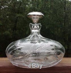 Rare Hawkes Rye American Brilliant Period Cut Crystal 7 1/2 Ships Decanter
