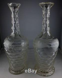 Rare Pair Of Antique Cut & Gray Cut Engraved Hollow Diamond Glass Decanters