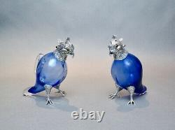 Rare Pair of Edwardian Parrot Decanters, Silver Plate & Mouth Blown Glass c. 1900