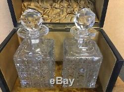 Rare Unusual Victorian Antique Cut Glass Small Leather Fitted Decanter Box