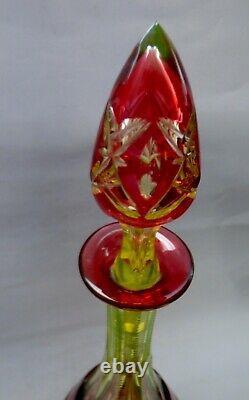 ° Rare antique Pedestal Decanter Val St. Saint Lambert cut Cristal Uranium glass