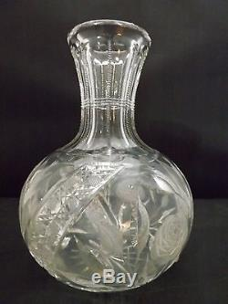 Rare heavy deep american brilliant cut glass decanter/carafe flower vase