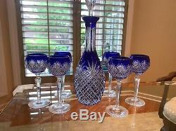 Rexxford Bohemian Blue Cased Cut To Clear Crystal 15 1/2 Decanter & 6 Goblets
