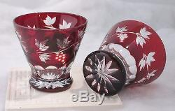 Ruby Red Hand Cut Glass Decanter Set with 6 Liqueur Glasses