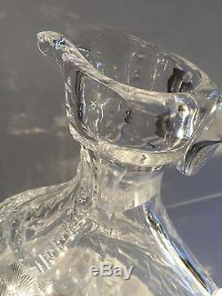 STUNNING! ABP BRILLIANT PERIOD CUT GLASS WHISKEY/WINE DECANTER CLARK, SIGNED