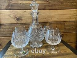 STUNNING WATERFORD IRELAND COLLEEN CUT GLASS FOOTED DECANTER 4 Snifters