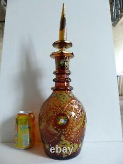 SUPERB 19th CEN. BOHEMIAN ISMALIC MARKET CUT HANDPAINTED GLASS DECANTER 1890s #2