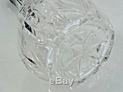 SUPERB ANTIQUE HAND CUT CRYSTAL LIQUOR DECANTER Art Deco STERLING SILVER ENAMEL