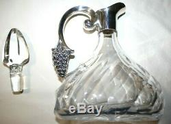 S&f Sterling Silver & Cut Glass Wine Decanter