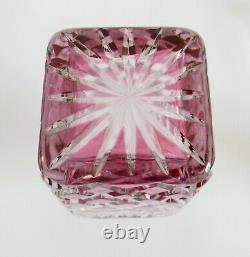Saint Louis France decanter with light cranberry red color cut to clear
