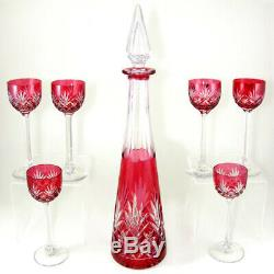 Saint Louis French Crystal Liquor Set Massenet Decanter Glasses Red Cut to Clear