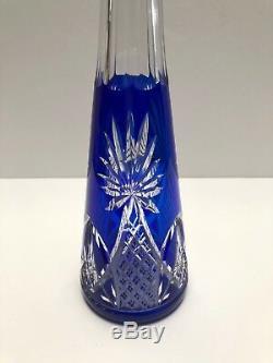 Saint Louis Hand Carved Cobalt Blue Cut To Clear Decanter