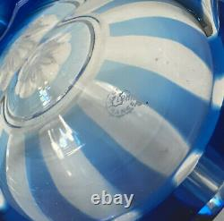 Saint (St.) Louis France Sky Blue Cut to Clear Glass Decanter, Signed