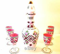Scarce Czech Bohemian Moser Decanter With6 Cordials White Enamel Cut To Cranberry