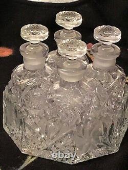Set 4 Vintage Cut Glass Decanters Lid Purple Sun Tint Crystal Holder