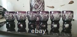 Set 8 Czech Bohemian Crystal Cut To Clear Amethyst Purple Decanter Glasses Bell