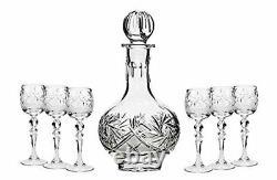 Set of 7 12-Oz Vintage Cut Crystal Liquor Decanter Set with 6 Sherry Glasses (3)
