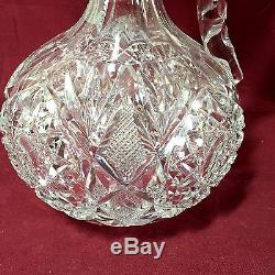 Signed Libbey American Brilliant cut glass Venetia pattern handled decanter