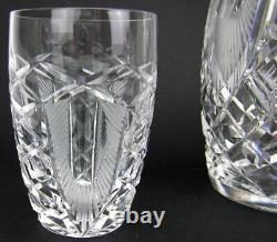 Signed Waterford Crystal Liquor / Whiskey Decanter with Two Glasses Cut Thistle