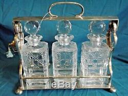 Silver Plated 3 Decanter Tantalus With Key Great Condition