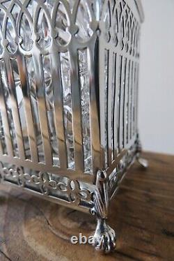 Small Cut Glass Decanter With Silver Collar & Cradle Blanckensee Birmingham 1924