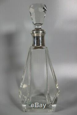Solid Silver & Glass Art Deco Style Decanter Wine, Spirits, Whisky