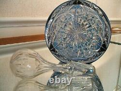 St. Louis Crystal Cut to Clear Tall Blue Decanter in Sky Blue Chantilly Pattern