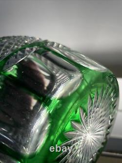 St. Louis Trianon Crystal Green Cut To Clear Triple Ring Barware Wine Decanter