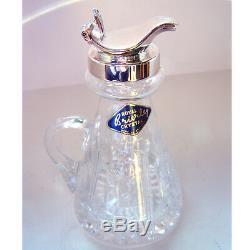 Sterling Silver Whisky Noggin. Hallmarked Whisky Noggin Royal Brierley Crystal