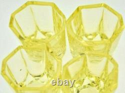 Stunning 1920s Czech Art Deco Moser Facet Cut Yellow Glass Decanter & 4 Glasses