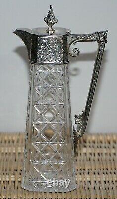 Stunning Circa 1920's Art Deco Hand Cut Glass Decanter Jug Silver Plated Top