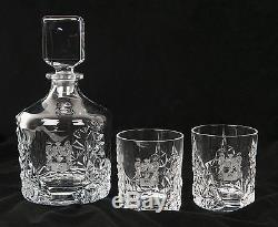 Stunning Crystal Whisky Decanter Set Engraved with your Family Coat of Arms