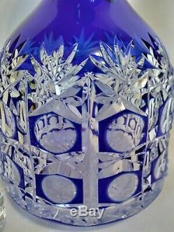 Stunning Vintage Bohemian Czech Cobalt Blue Cut To Clear Crystal Glass Decanter