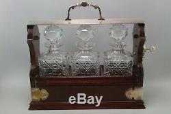 Stunning Vintage Tantalus with lock and key in Silver plate 3 decanters