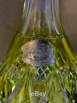 Stunning Vintage Val St. Lambert Citron Art Glass Cut Crystal Decanter