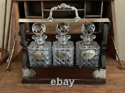 Stunning c1900s Edwardian Oak & Silverplate Tantalus With Cut Glass Decanters